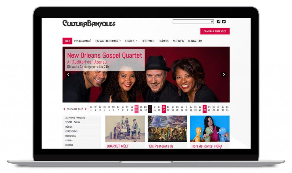 Imatge del nou web de Cultura Banyoles realitzat per Eventis