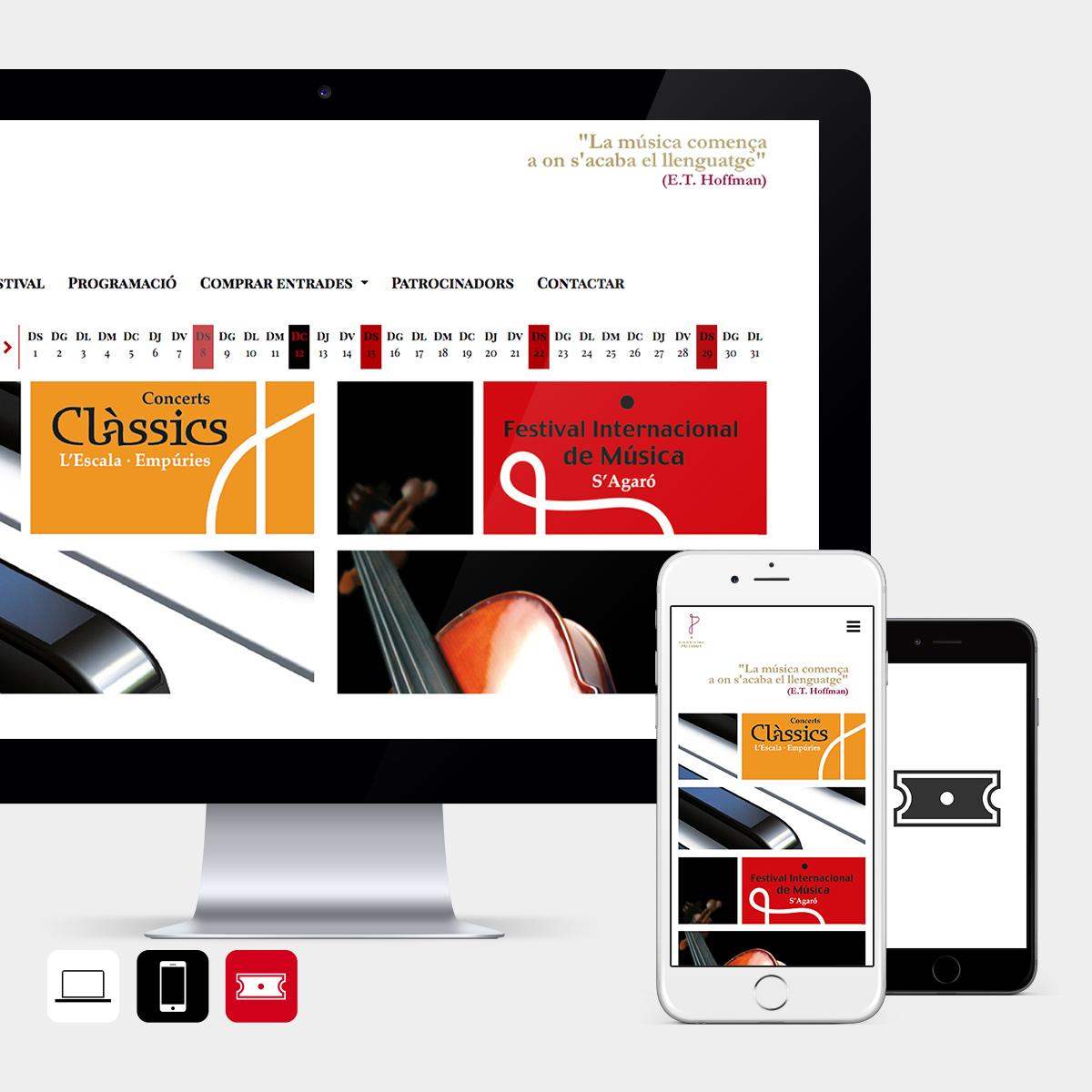 Web, app i entrades per a Concerts Clàssic de l'Escala i Festival de música de s'Agaró