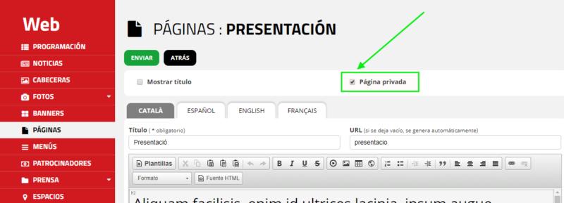 Àrea privada d'Eventis. Panell de control: acció que per convertir una pàgina pública en privada.