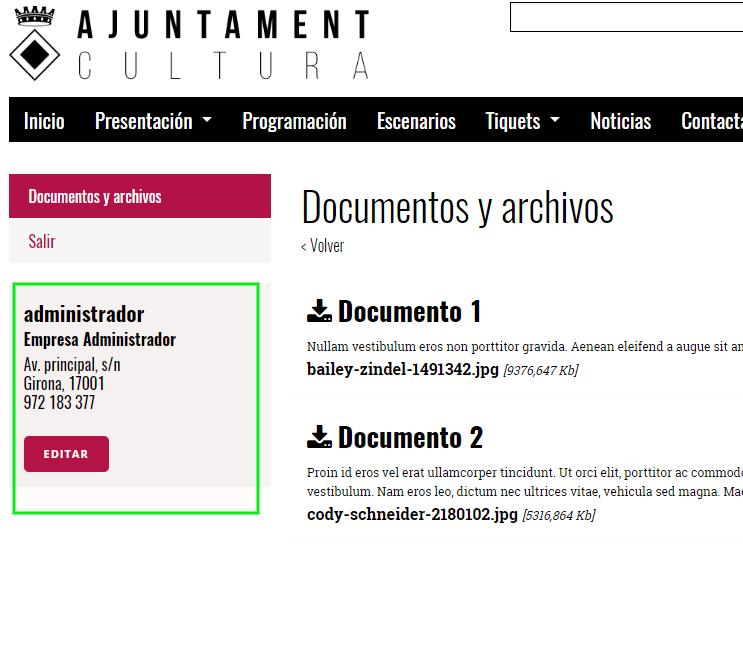 Área privada de Eventis. Web privada: ejemplo de sección sólo accesible si tienes acceso a la área privada.