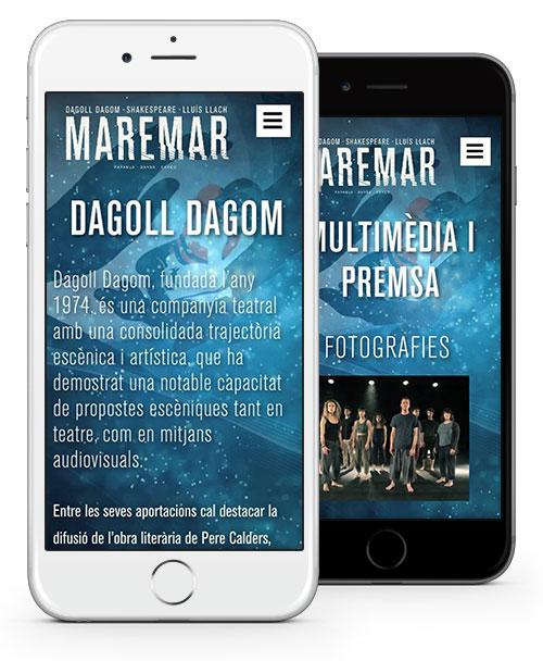 Vista mòbil de dues seccions del web de Maremar