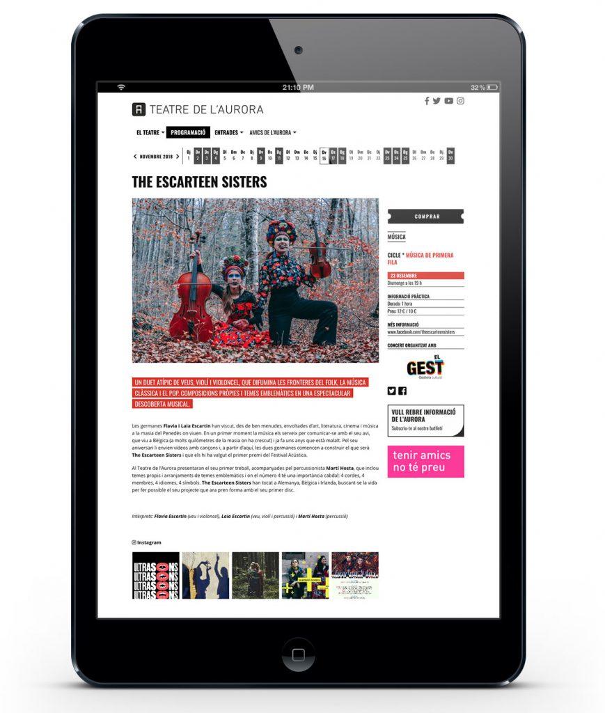 Fitxa d'un espectacles del web Teatre de l'Aurora