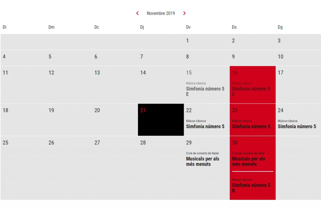 Vista mensual de les activitats programades
