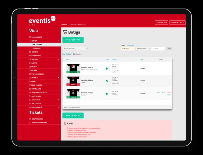 Panell de control d'Eventis (Gestor de continguts). Llistat de productes a la venda.