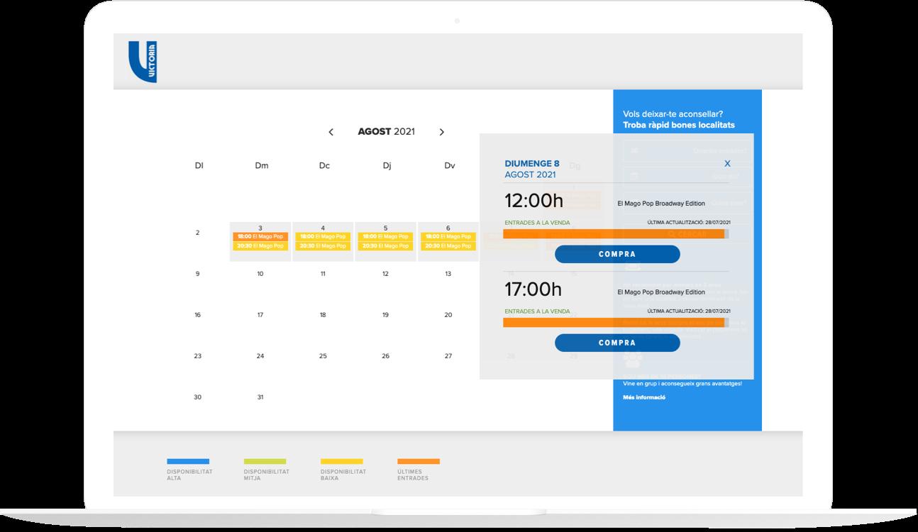 Imagen de un ordenador portátil con una imagen de la web del Teatro Victoria mostrando el índice de ocupación de las sesiones a la venta.