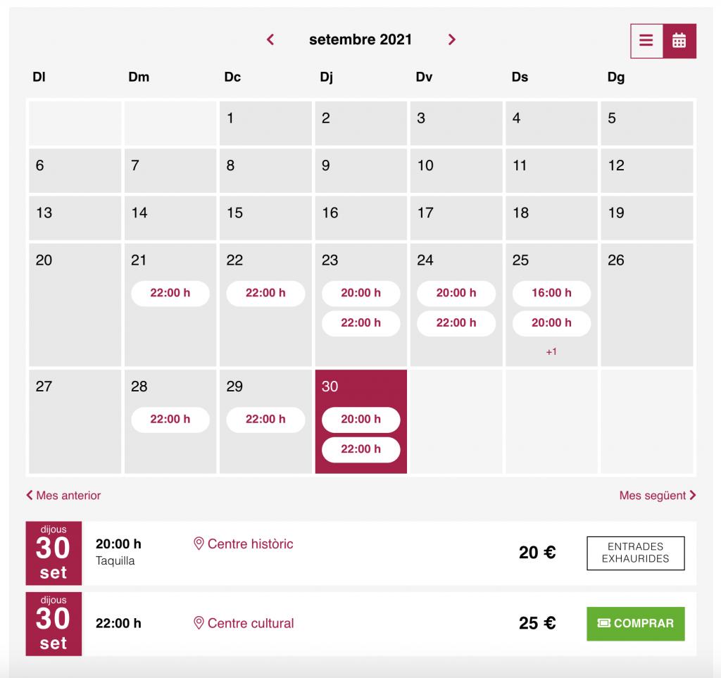 Calendari mensual de les sessions d'un espectacle